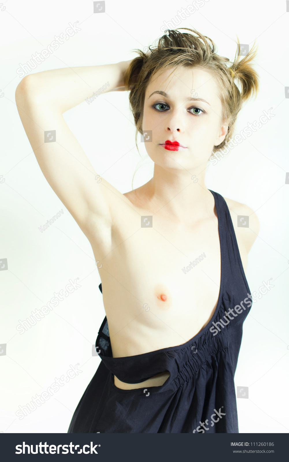 Portrait Young Woman Barechested On White Stock Photo 111260186 ...
