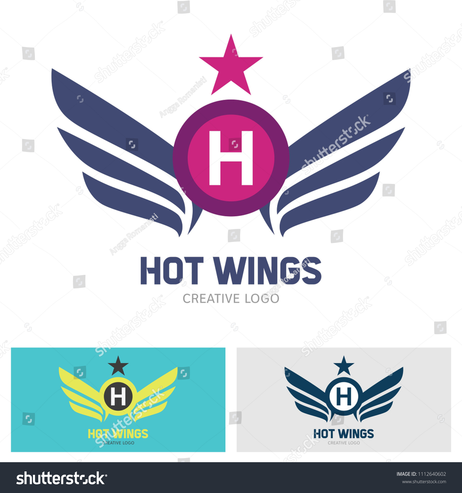 Winged Emblems Frames Icons Angel Phoenix Stock Vector (Royalty Free ...