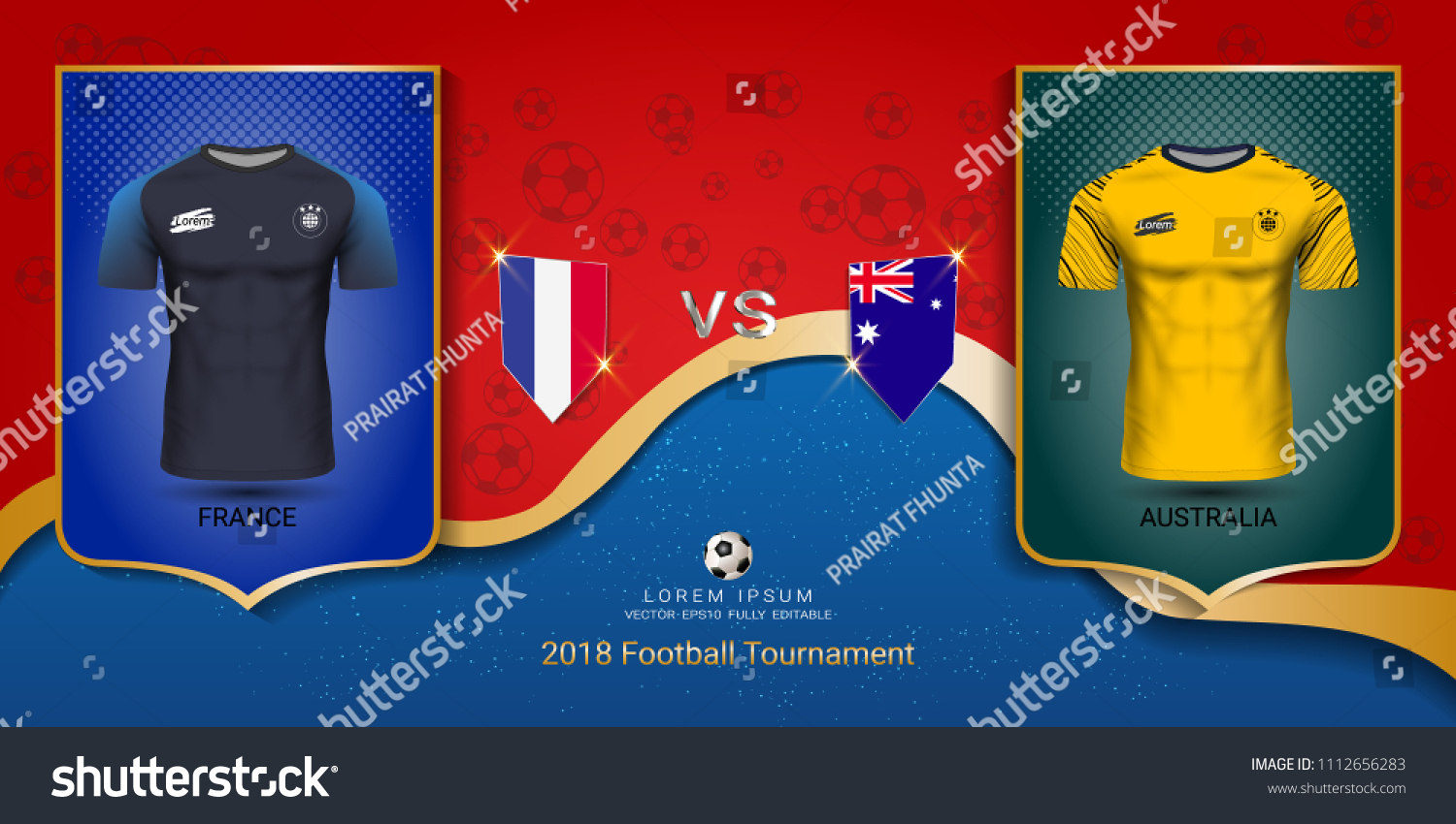 ae2f990897c Football cup 2018 World championship template, France VS Australia, National  team soccer jersey uniforms