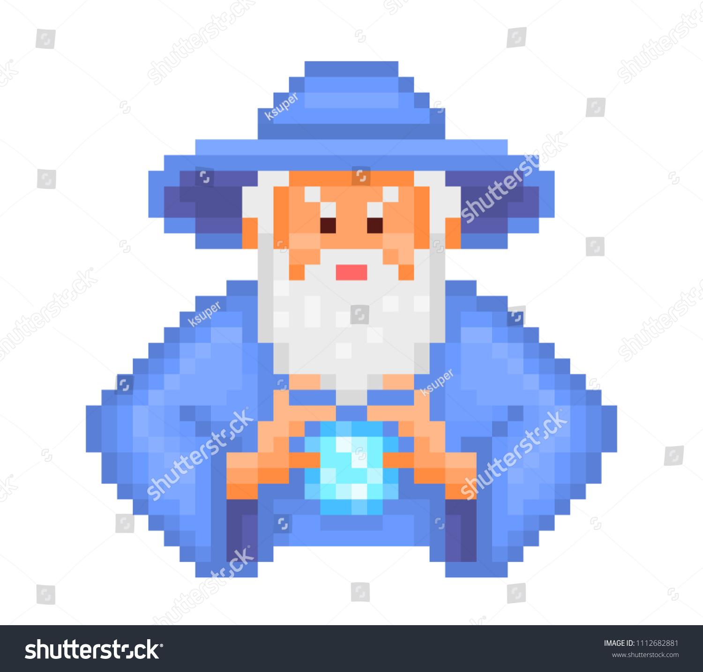 Evil Wizard Putting Spell Cartoon Pixel Stock Vektorgrafik