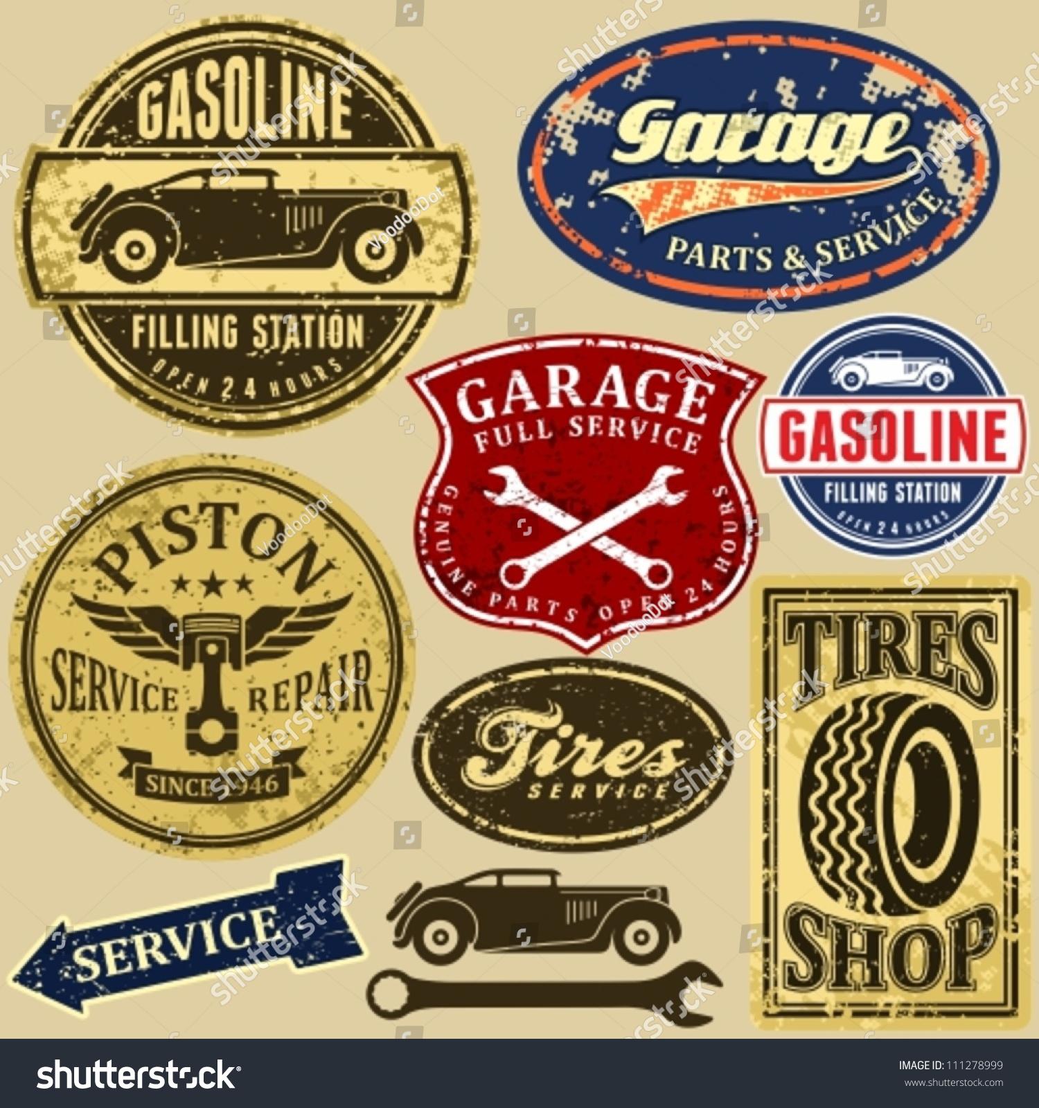 Set Of Retro Vintage Car Labels Ez Canvas
