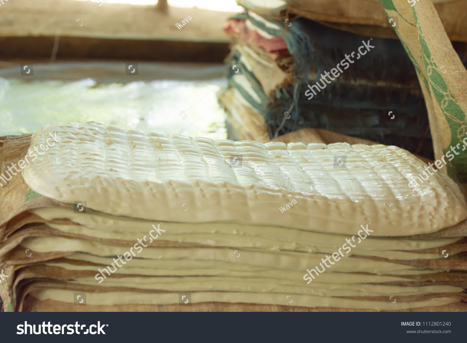 Rubber Sheet Manufacturing Process Stock Photo (Edit Now