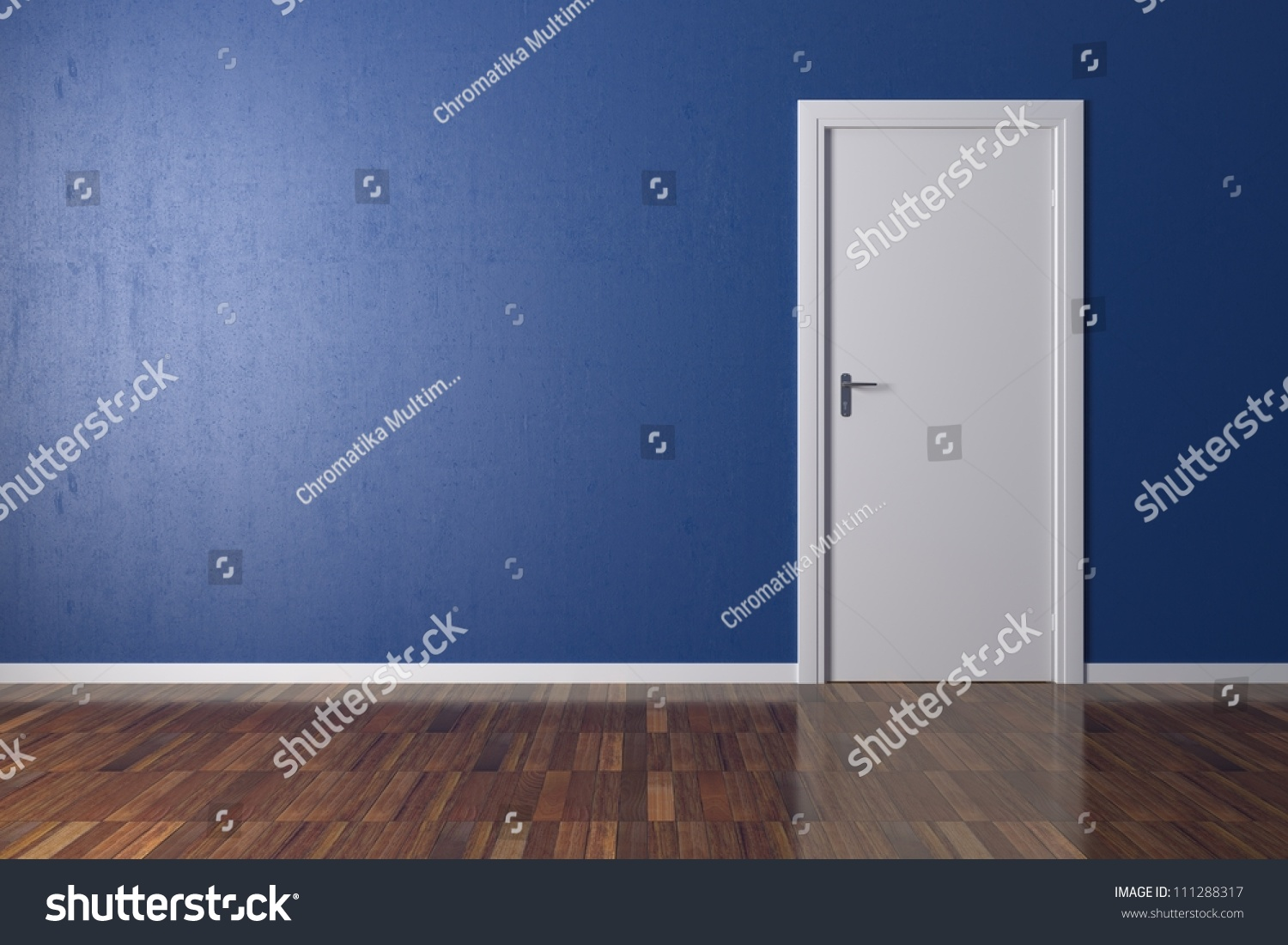 Background Blue Wall Parquet Floor White Stock Illustration ...