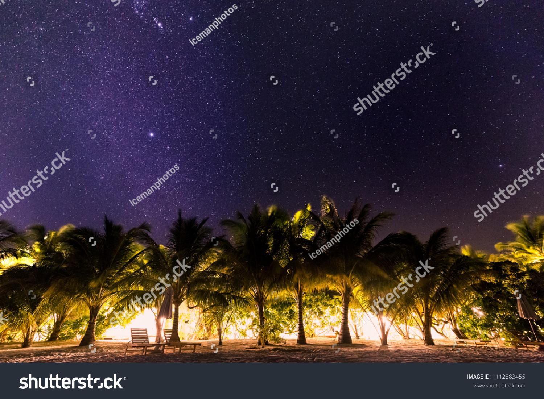 Night Beach Scenery Tropical Beach Resort Stock Image