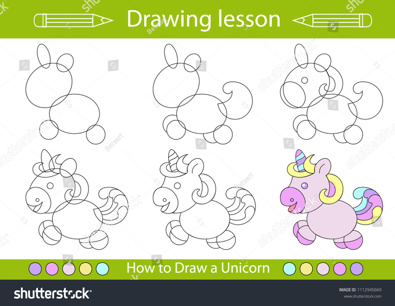 Drawing Lesson Children How Draw Cartoon Stock Vector