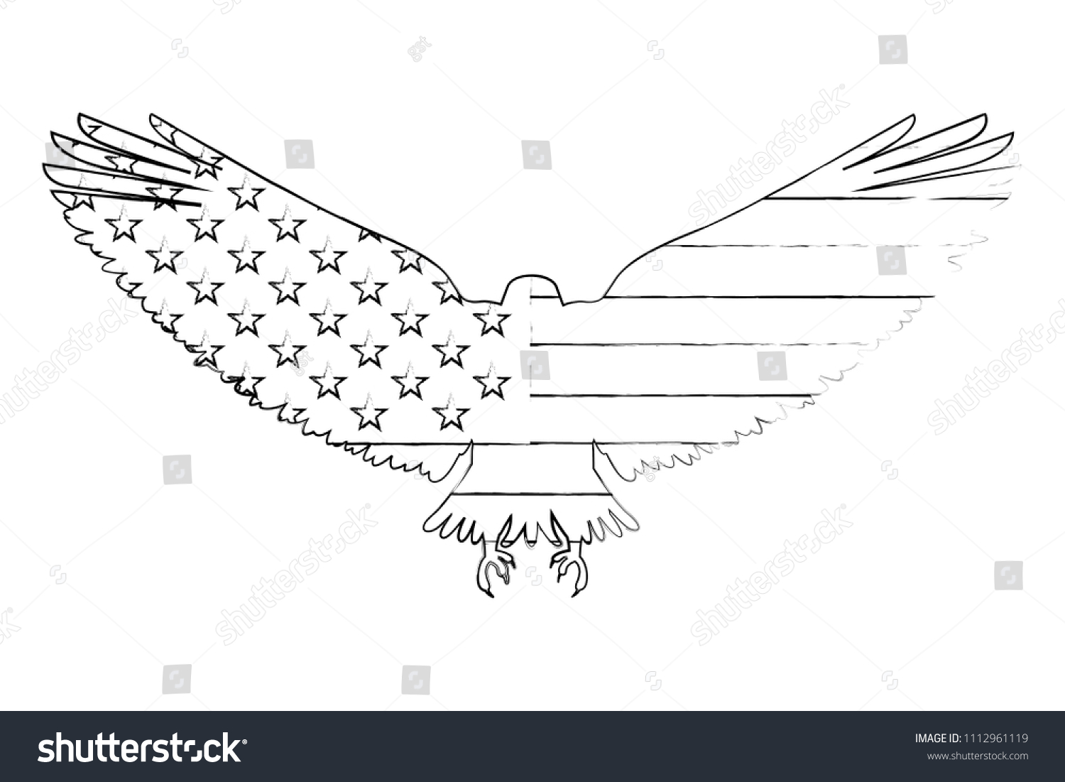 United States America Flag Eagle Silhouette Stock Vector Royalty