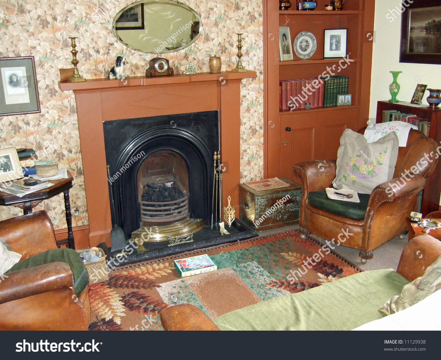 Old Fashioned Living Room With Fireplace