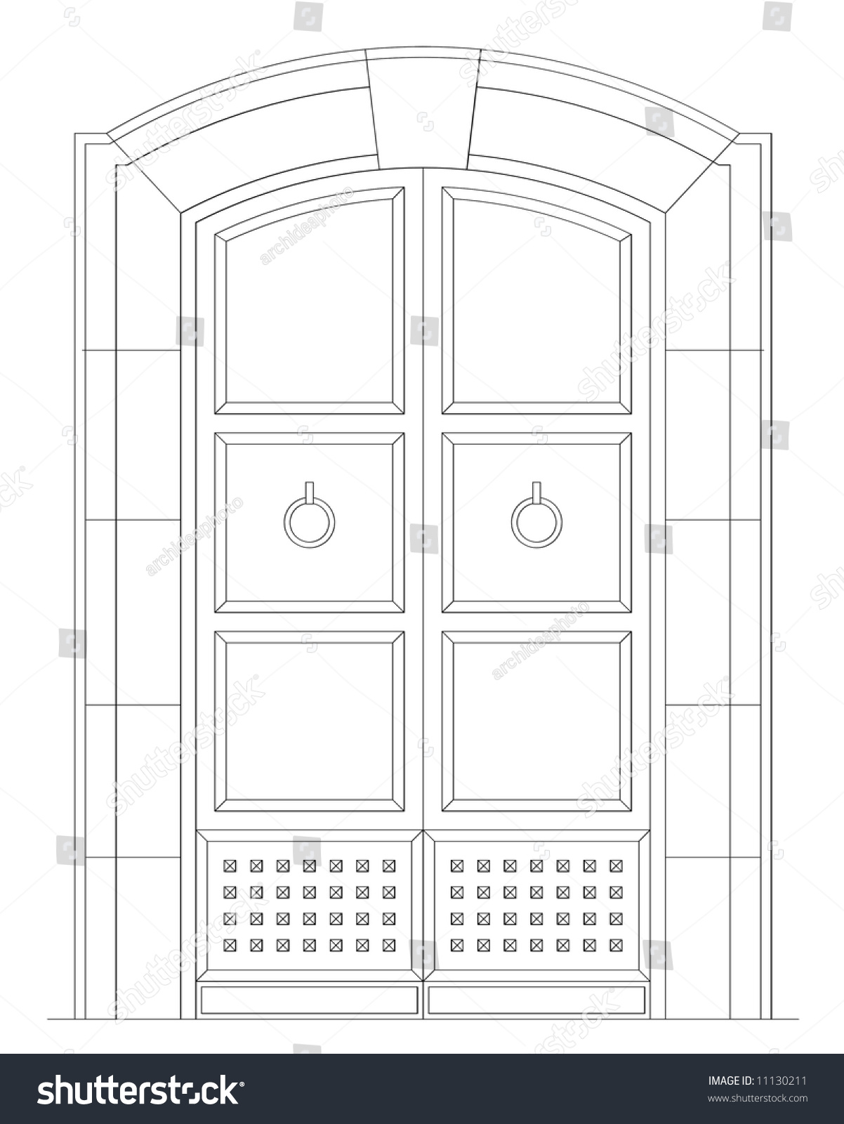 Front Elevation In 2d : Plant elevation ancient front door d stock illustration