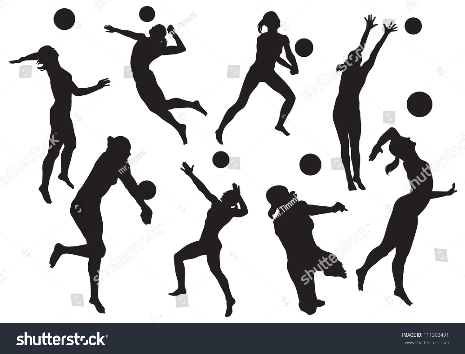 Abstract Design Of A Beach Volleyball Player Vector Image: Vector Silhouettes Womens Beach Volleyball Stock Vector