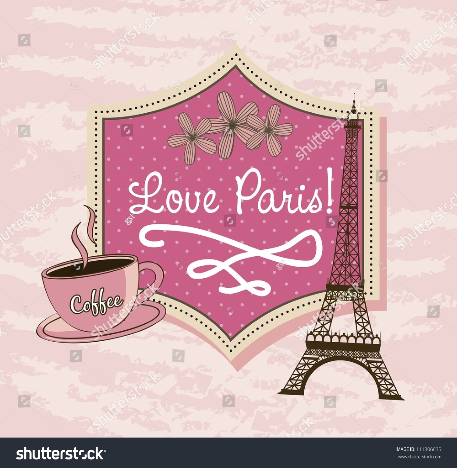 Love Paris Tower Eiffel Coffee Over Stock Vector Royalty