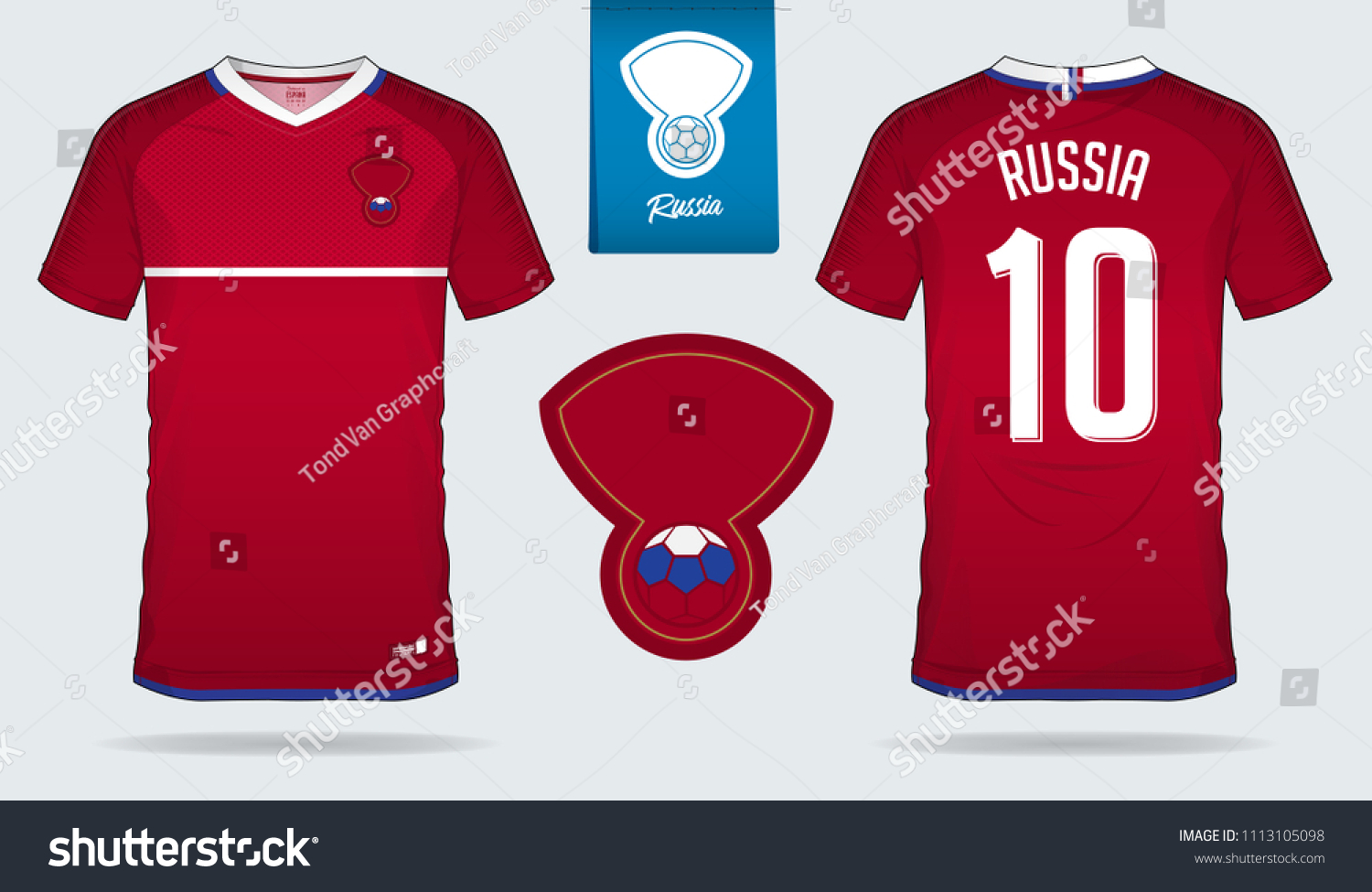 60f0e4d4aec Soccer jersey or football kit template design for Russia national football  team. Front and back
