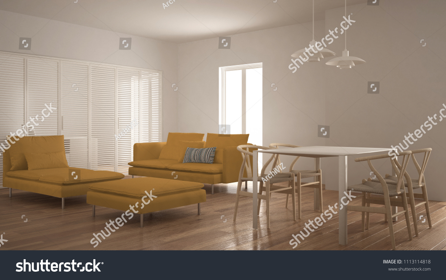 Modern Clean Living Room With Sliding Door And Dining Table Sofa Pouf Chaise