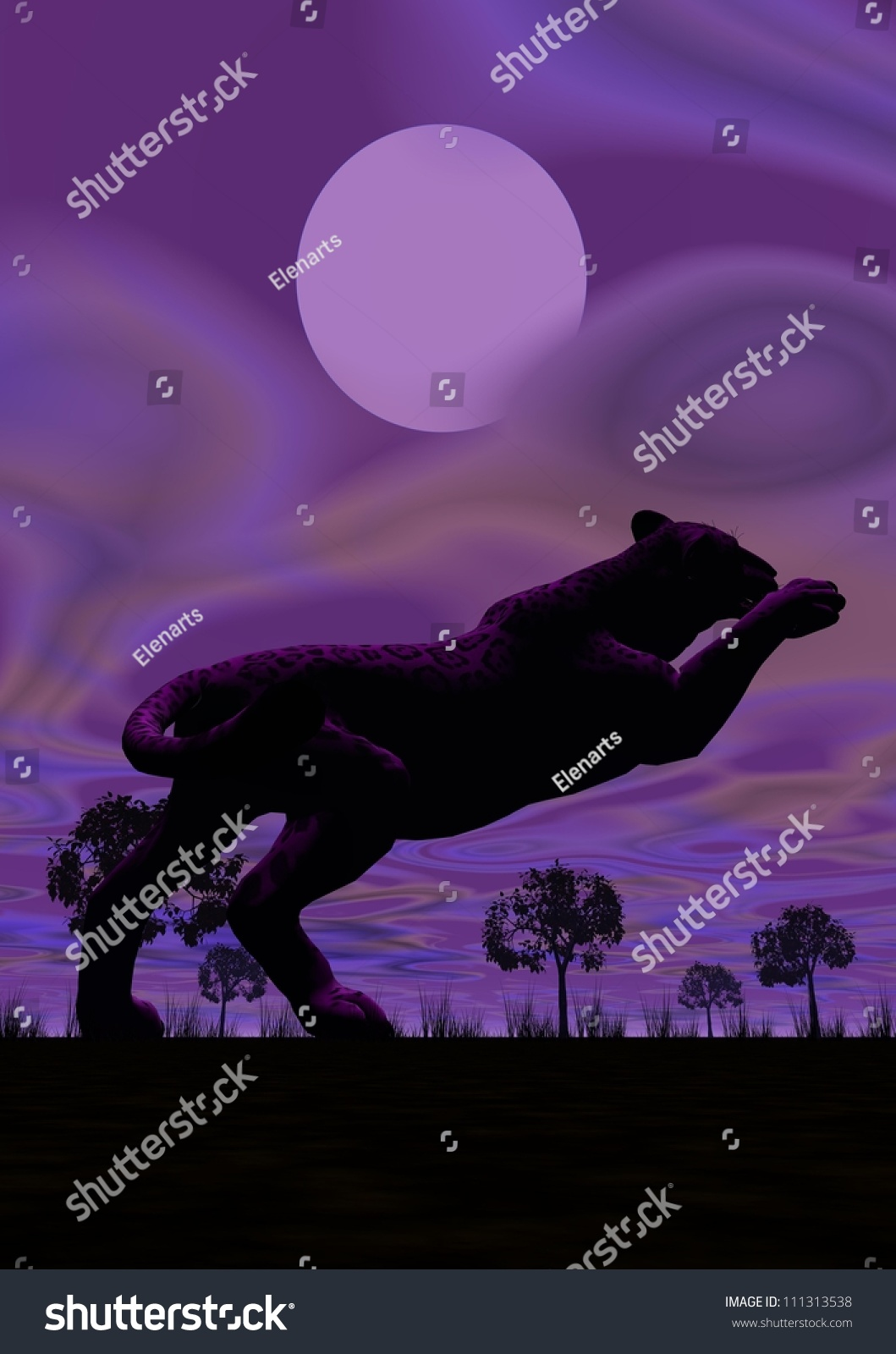 Shadow Of One Panther Jumping Under The Full Moon By ...