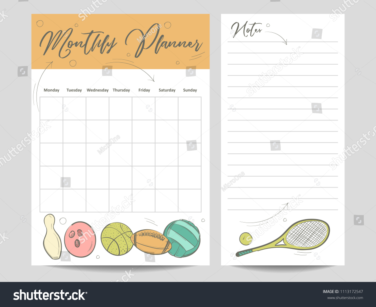 Monthly Planner Page Notes Template Sketch Stock Illustration