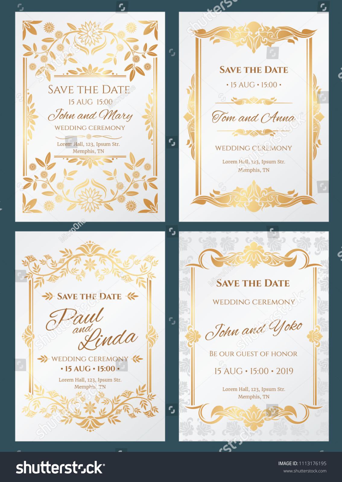 Save Date Luxury Wedding Invitation Cards Stock Illustration ...