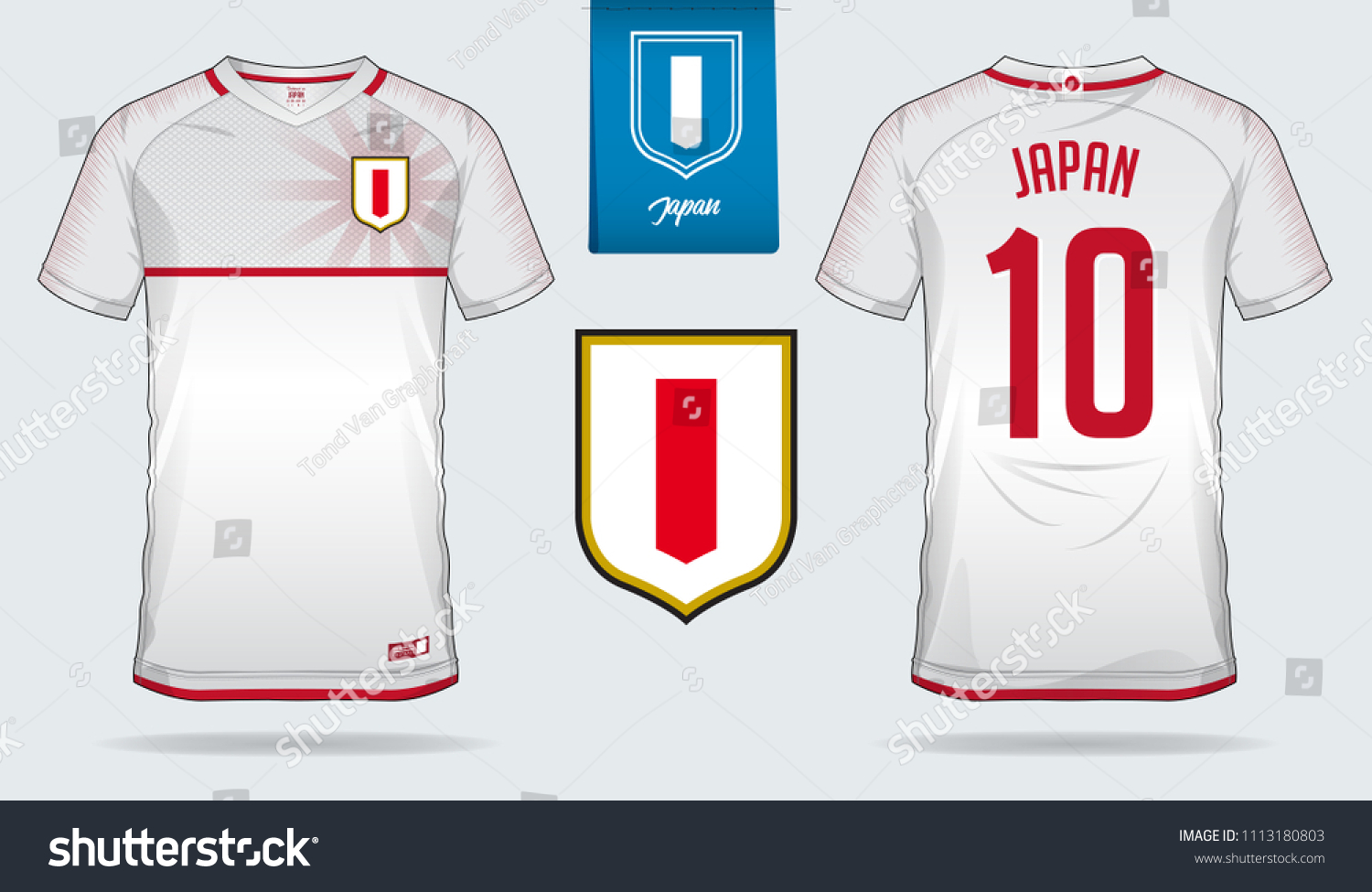 a476ef641 Soccer jersey or football kit template design for Japan national football  team. Front and back