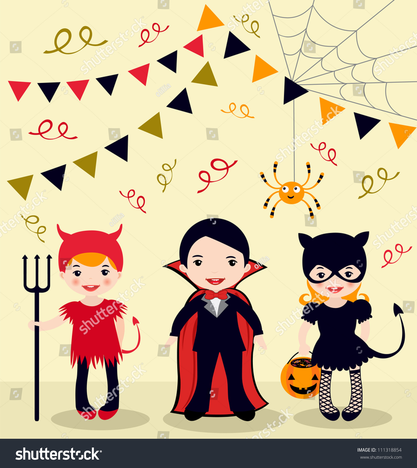 An Illustration Of Halloween Party Kids - 111318854 : Shutterstock