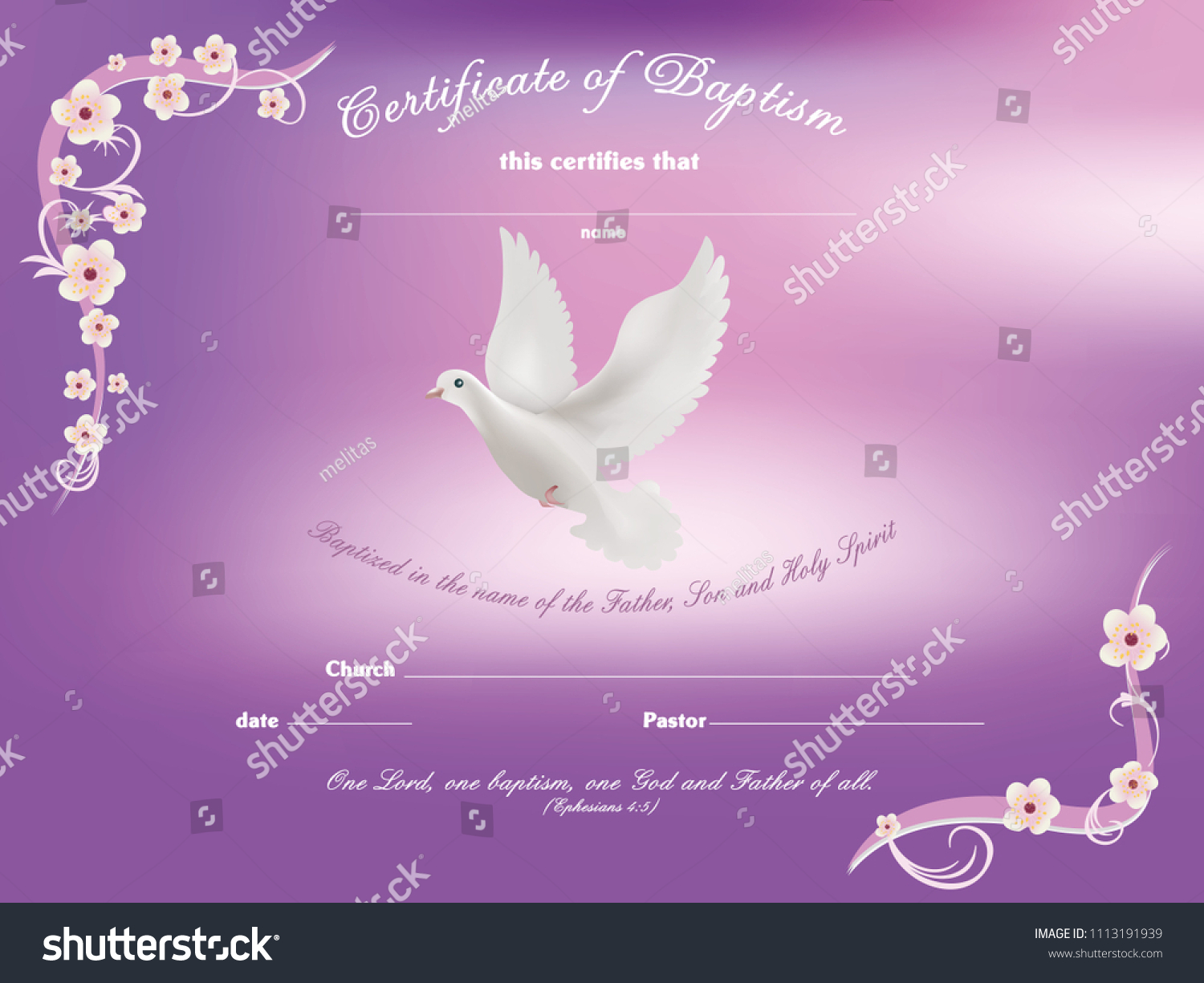 certificate baptism template with dove and and flowery frame on pink background