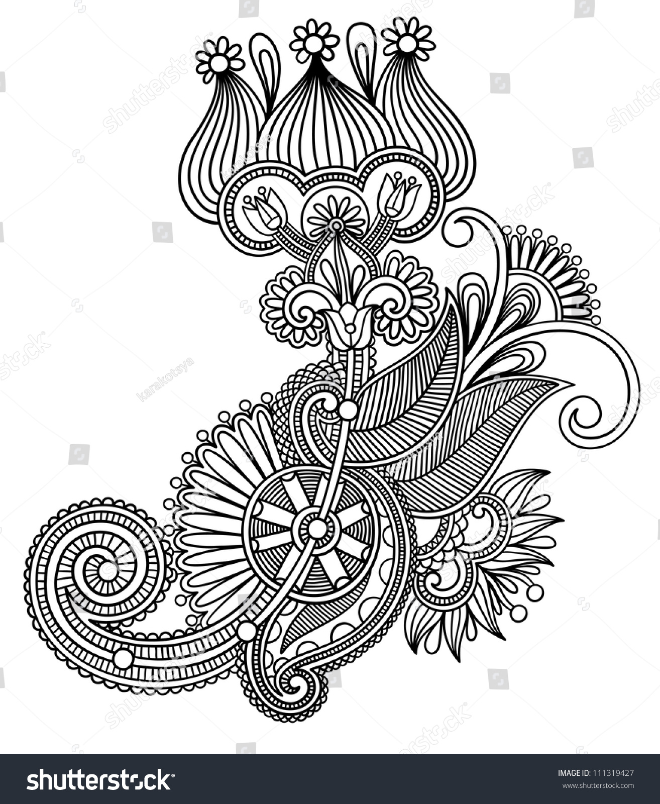 Traditional Flower Line Drawing : Original hand draw line art ornate stock vector