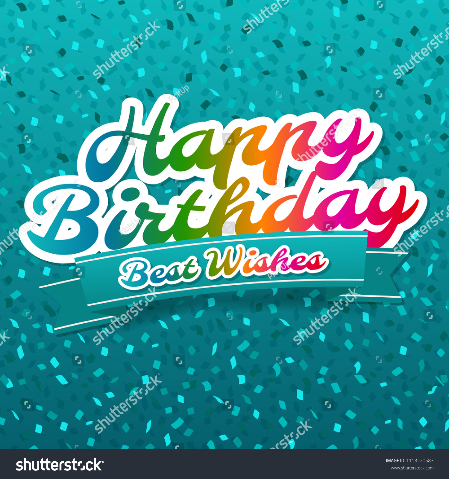 Happy Birthday Best Wishes Greeting Card Stock Vector Royalty Free