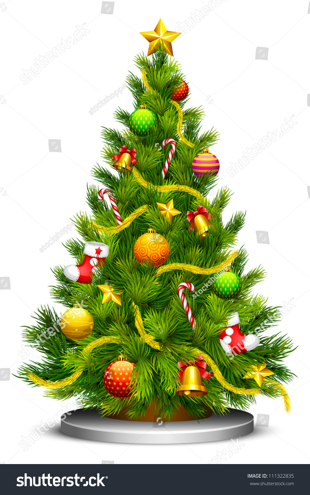 Vector Illustration Of Decorated Christmas Tree - 111322835