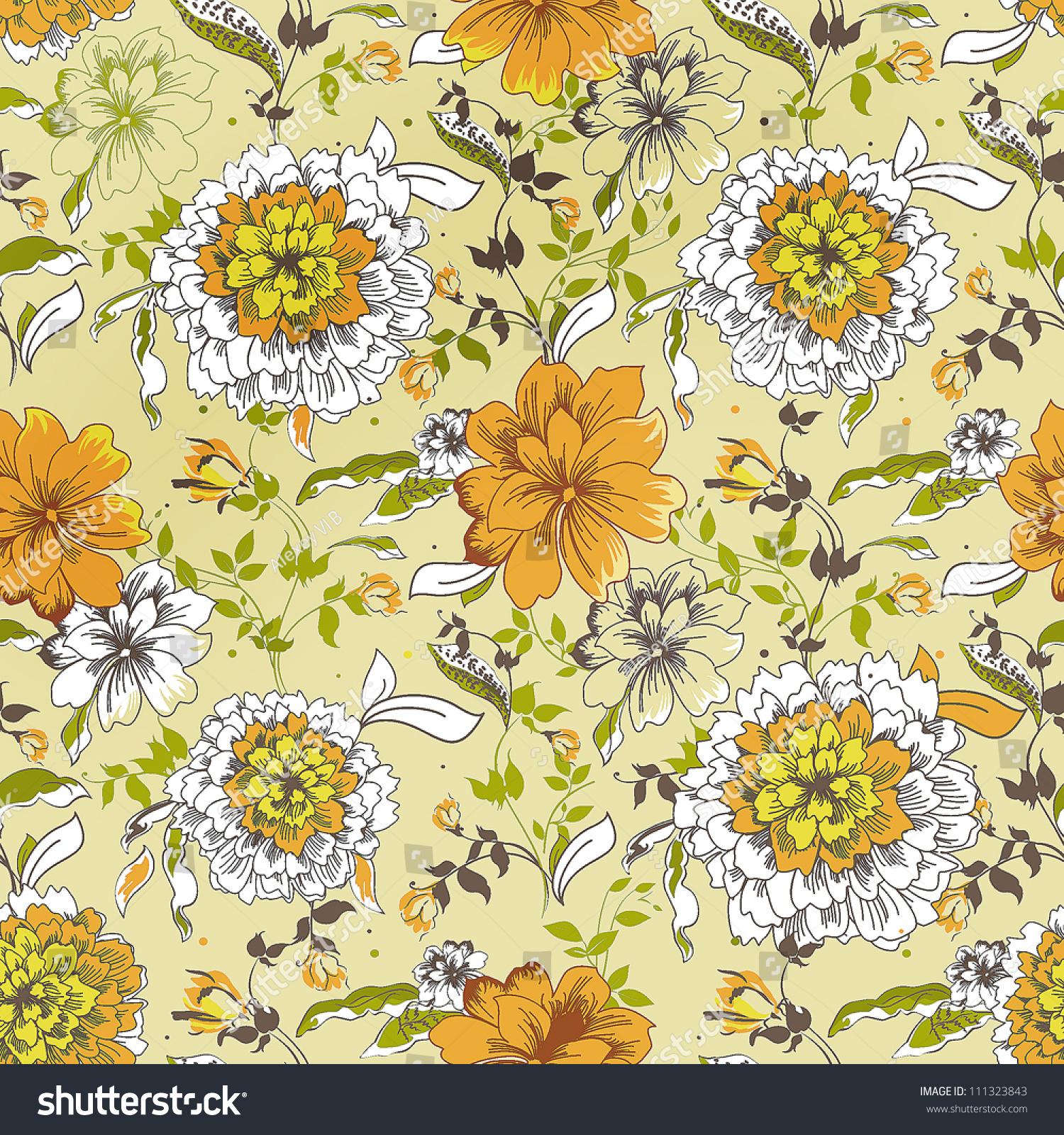 Floral Fabric Vintage Wallpaper Cute Backdrop Stock Vector