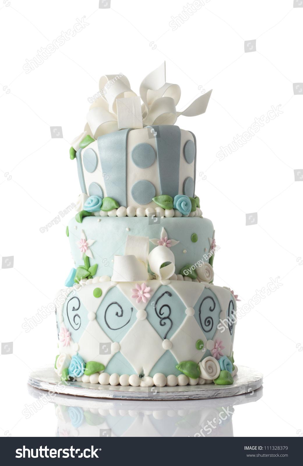 Birthday Cake Isolated On White Background Stock Photo