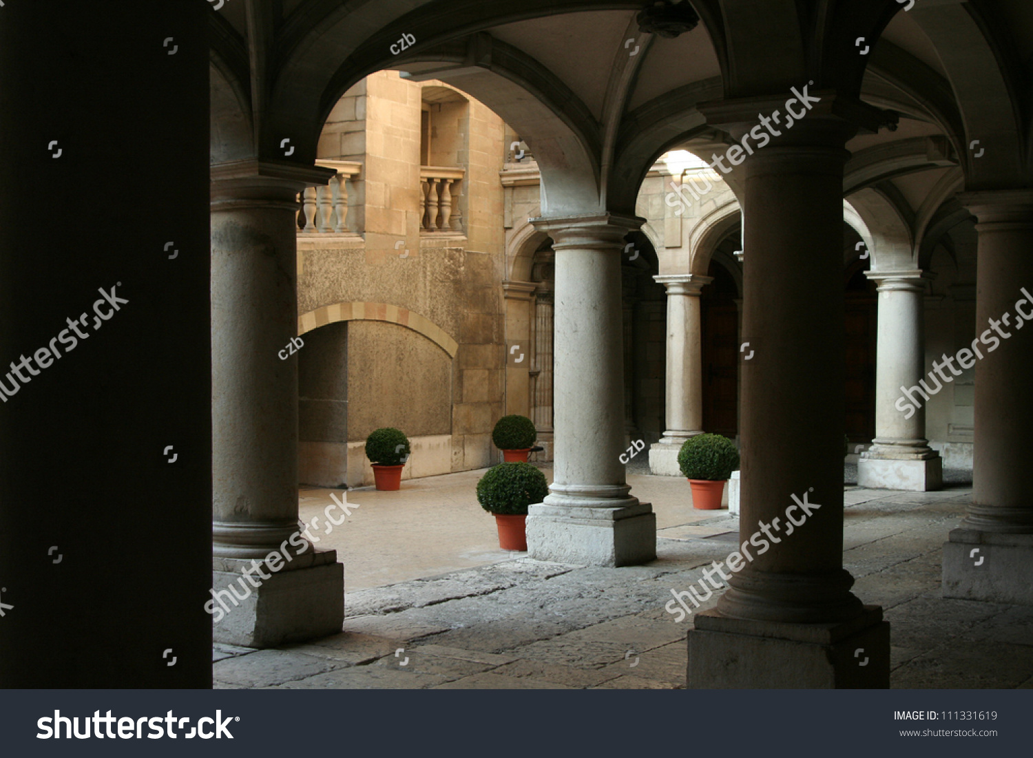 Stone Pillar Arch : Old buildings quad and patio stone pillars arches