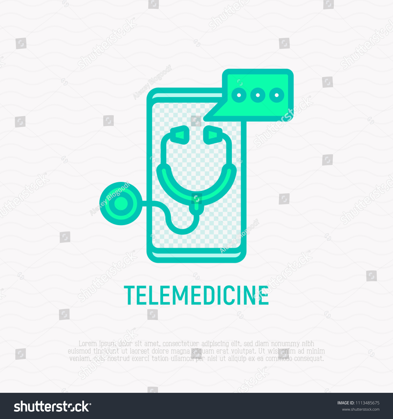 Telemedicine Thin Line Icon Stethoscope Speech Stock Vector Royalty Remote Concept Diagram With Bubble On Screen Of Smartphone Modern