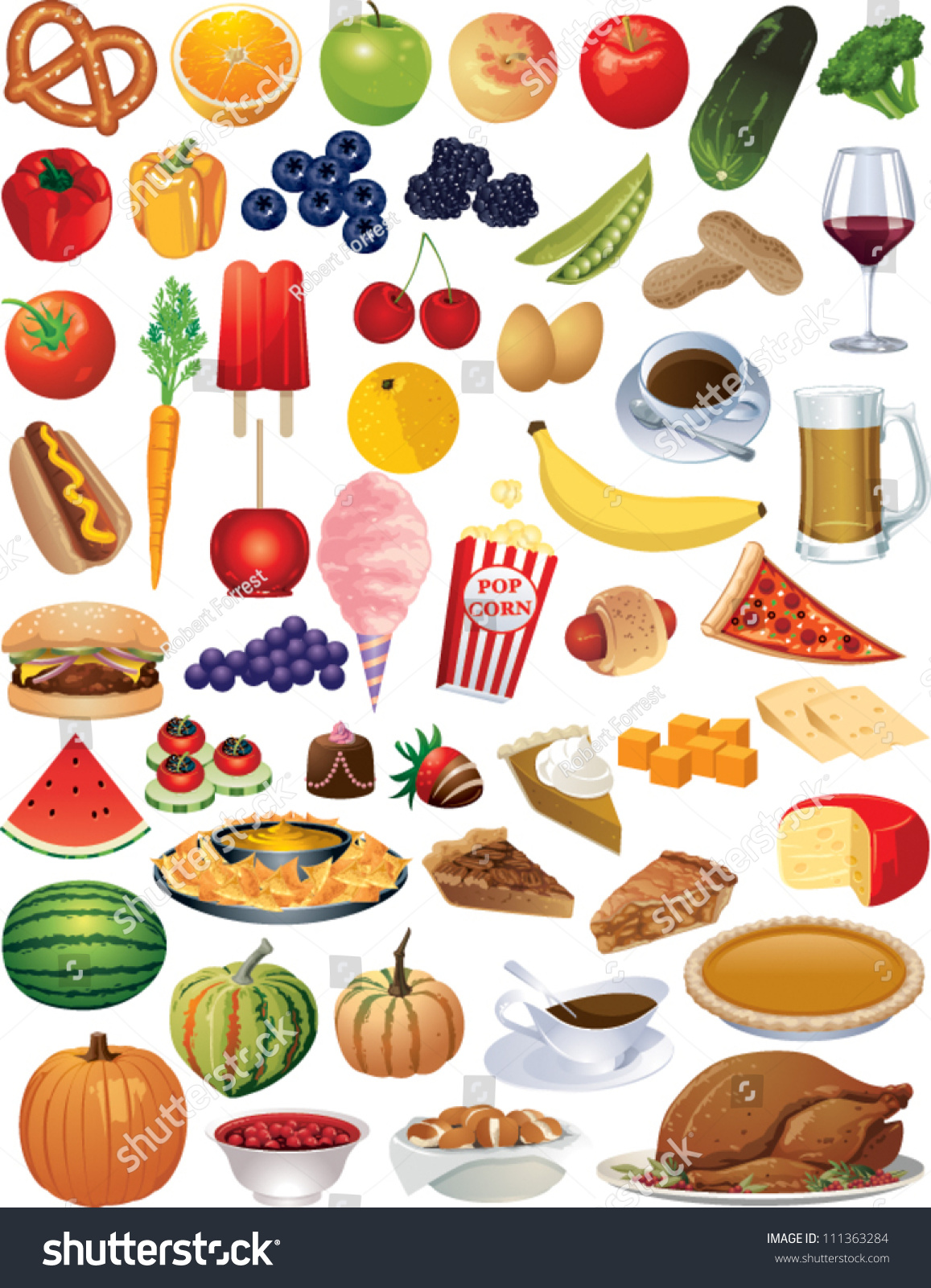 Collection Vector Food Items Stock Vector 111363284 - Shutterstock