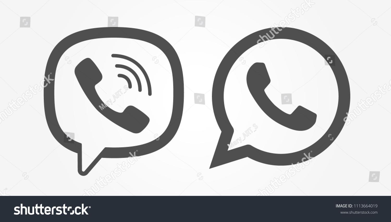 Messenger Viber Whatsapp Logo Line Icon Stock Vector Royalty Free
