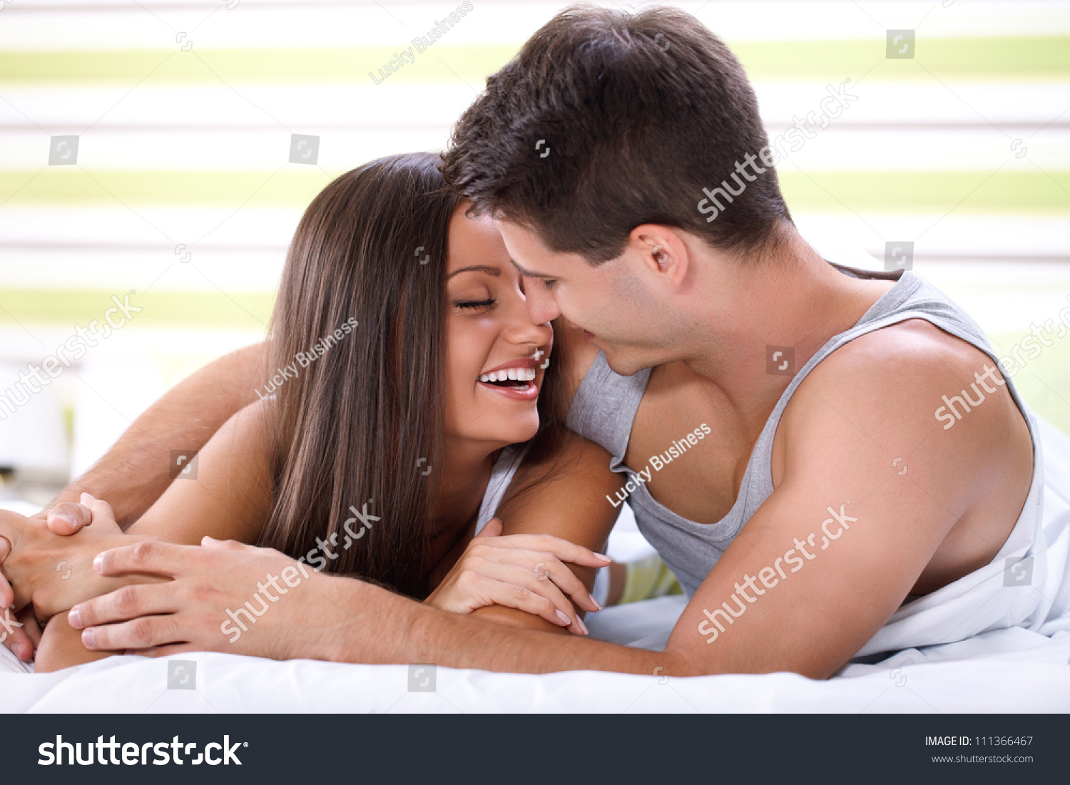 Lovely Couple In Bed Lying In Bedroom Love Couple Lying Bed Kissing Looking Stock Photo 111366467
