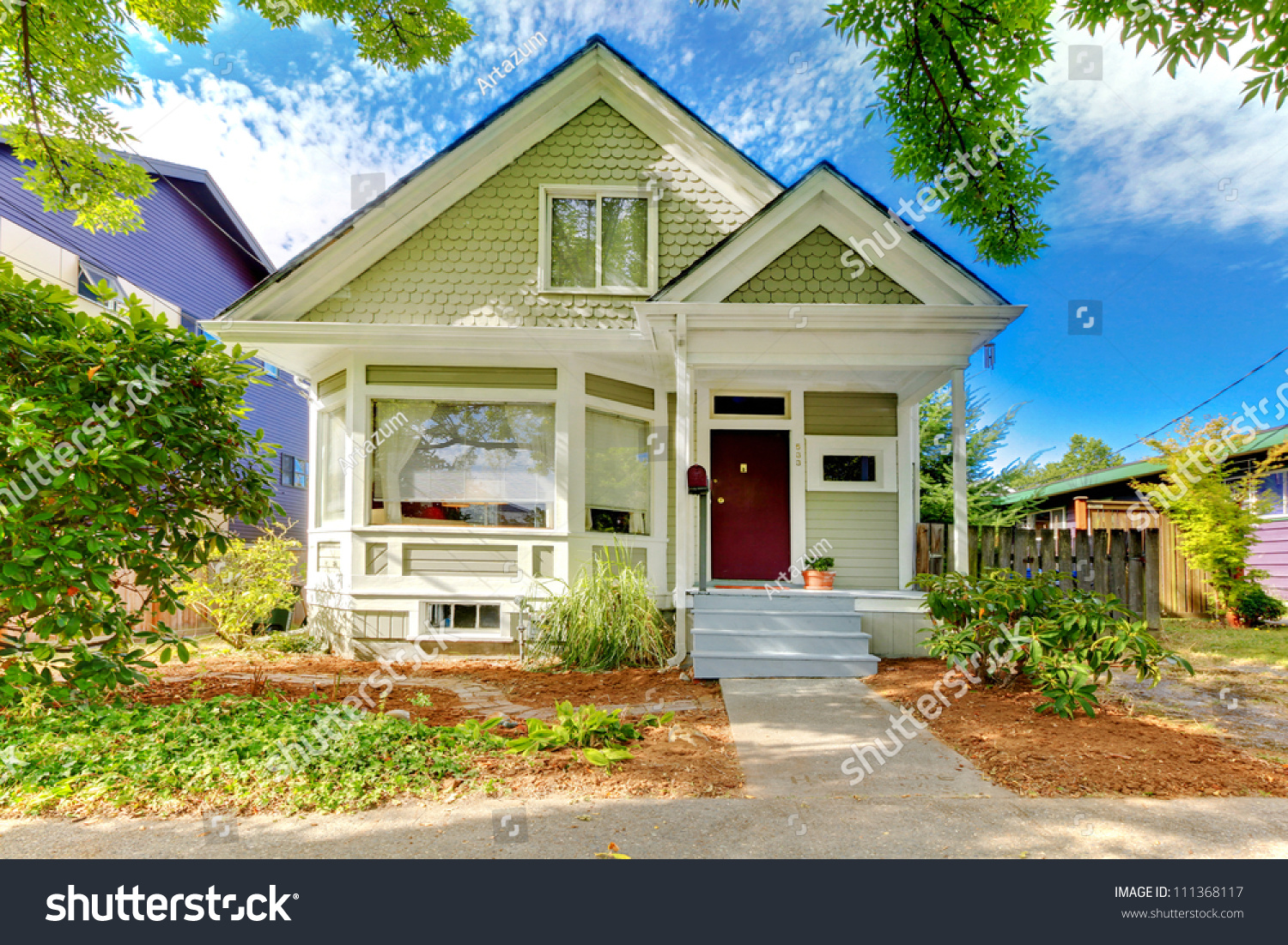 Small Cute Craftsman American House Green Stock Photo