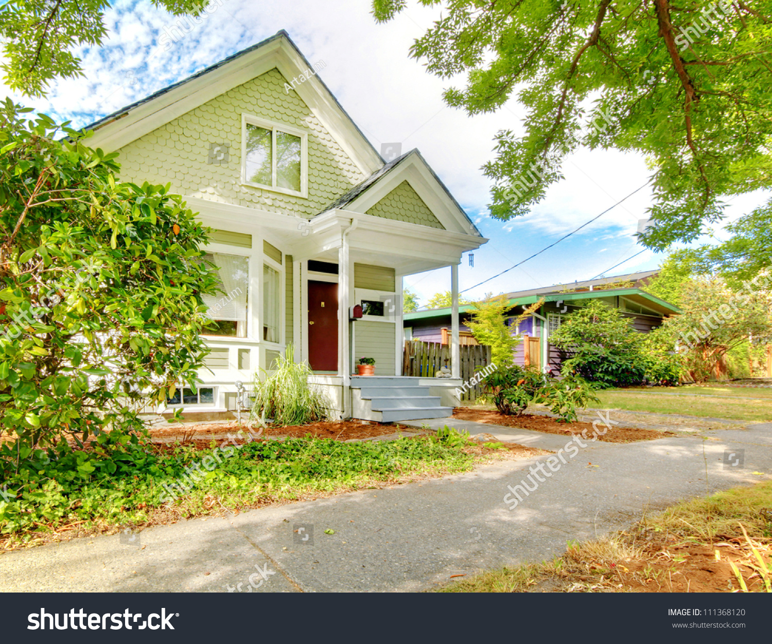 Pleasing Small Cute Craftsman American House Green Stock Photo 111368120 Largest Home Design Picture Inspirations Pitcheantrous