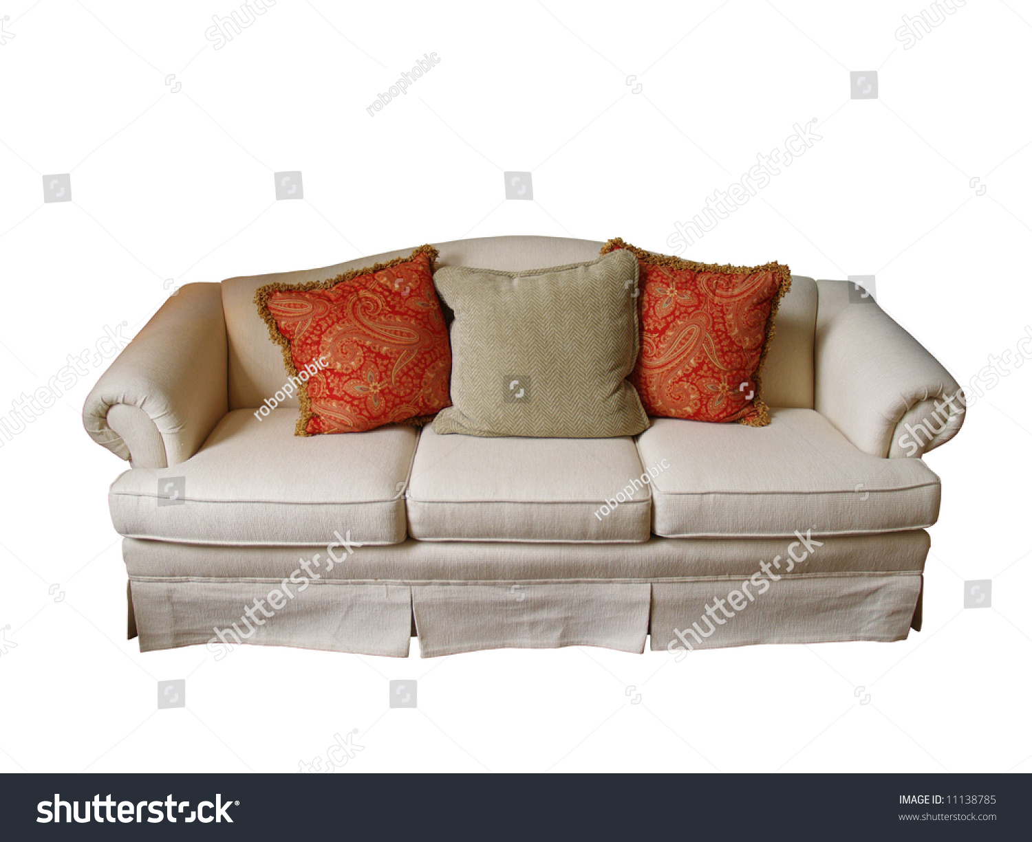 Overstuffed Sofa Covered Offwhite Fabric Two Stock Photo