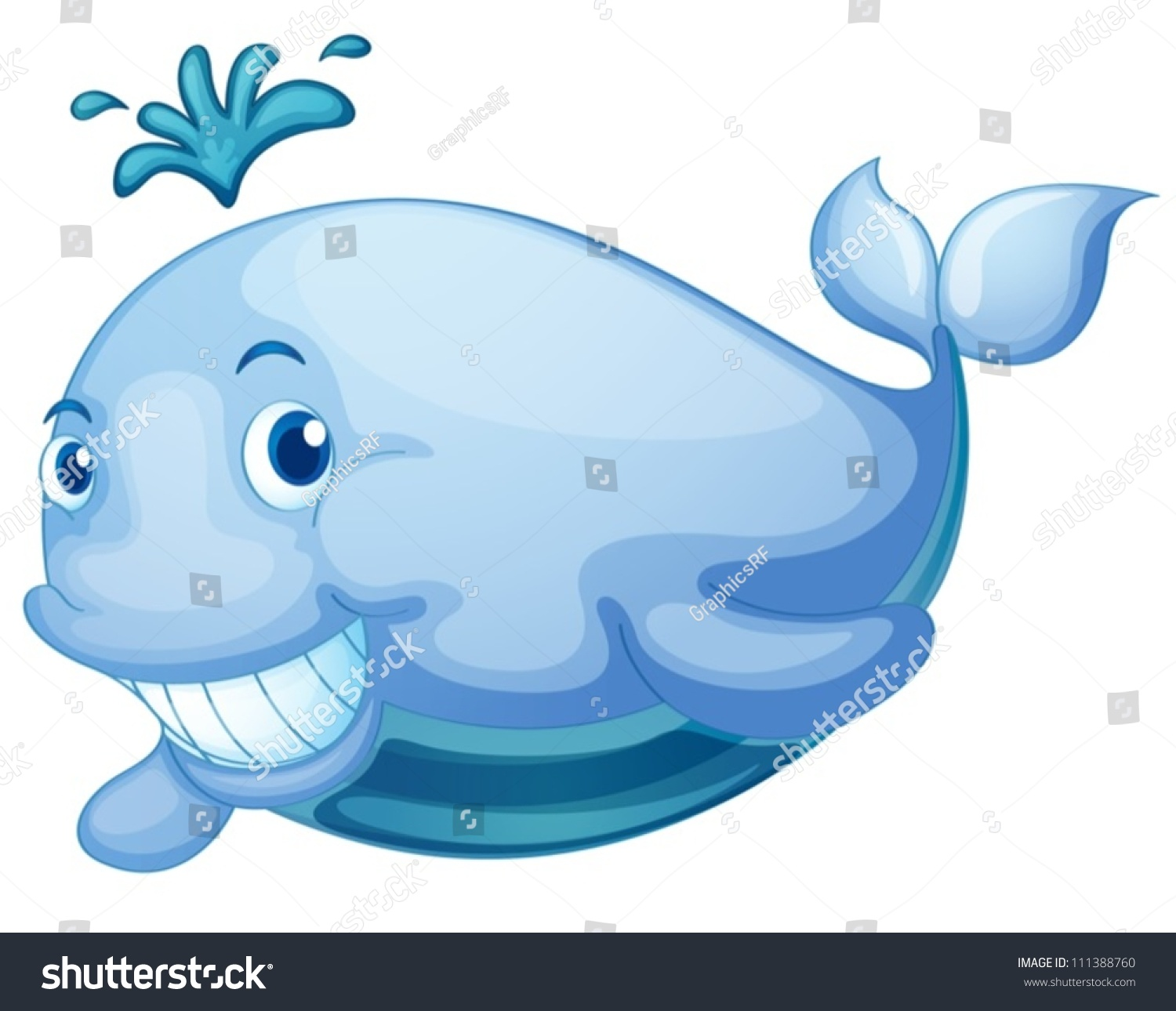 Cute whale in water cartoon isolated illustration stock photography - Illustration Of A Cute Whale