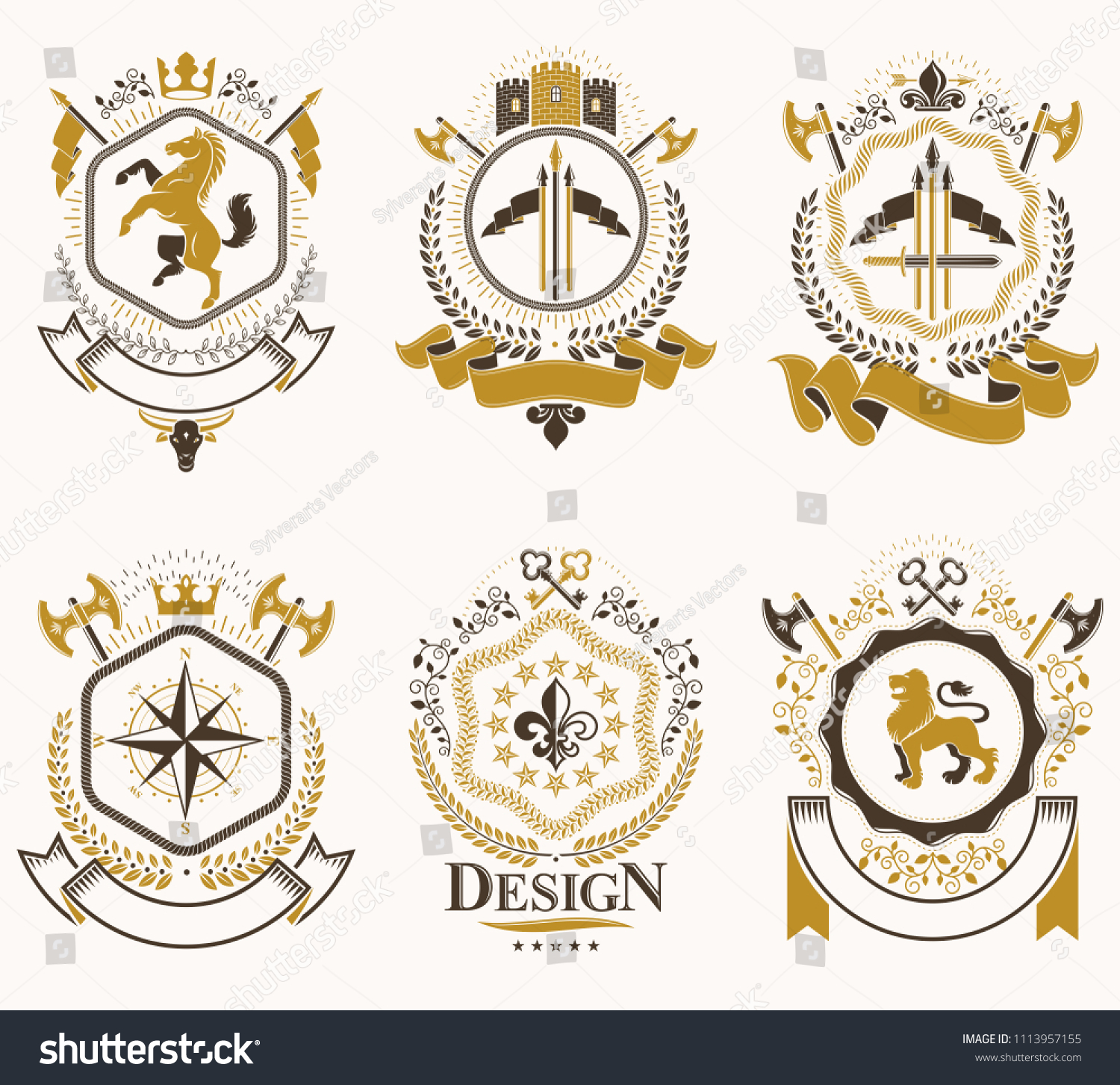 Vintage Heraldic Coat Of Arms Designed In Award Style Medieval