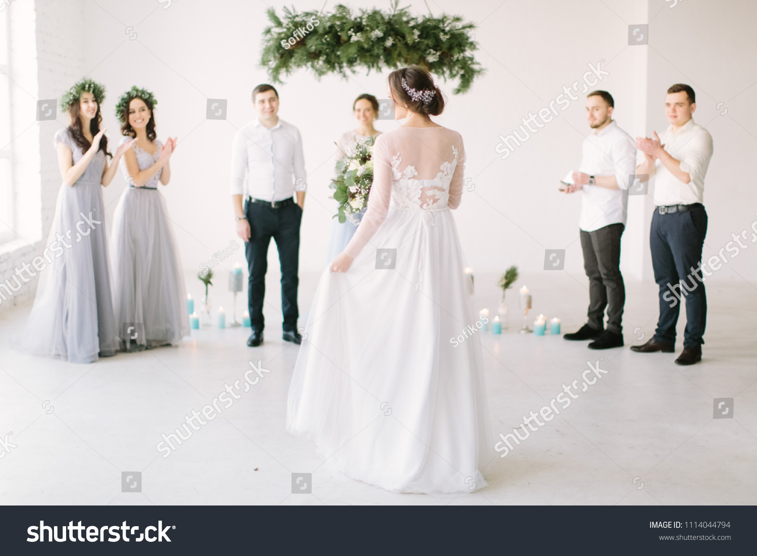 Beautiful Bride White Dress Holds Wedding Stock Photo Edit Now