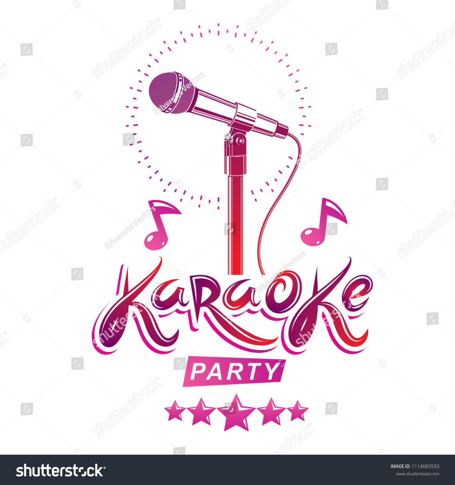 Karaoke Party Invitation Poster Live Music Stock Illustration ...