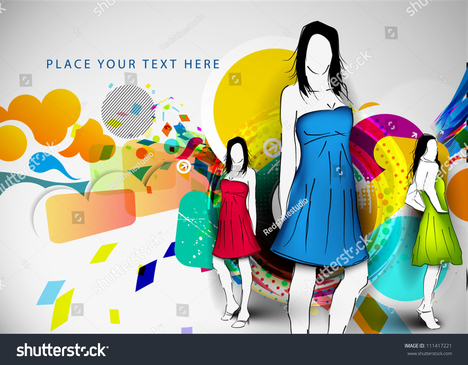 Vector Fashion Girls Sketchstyle Abstract Background Stock Vector Royalty Free 111417221