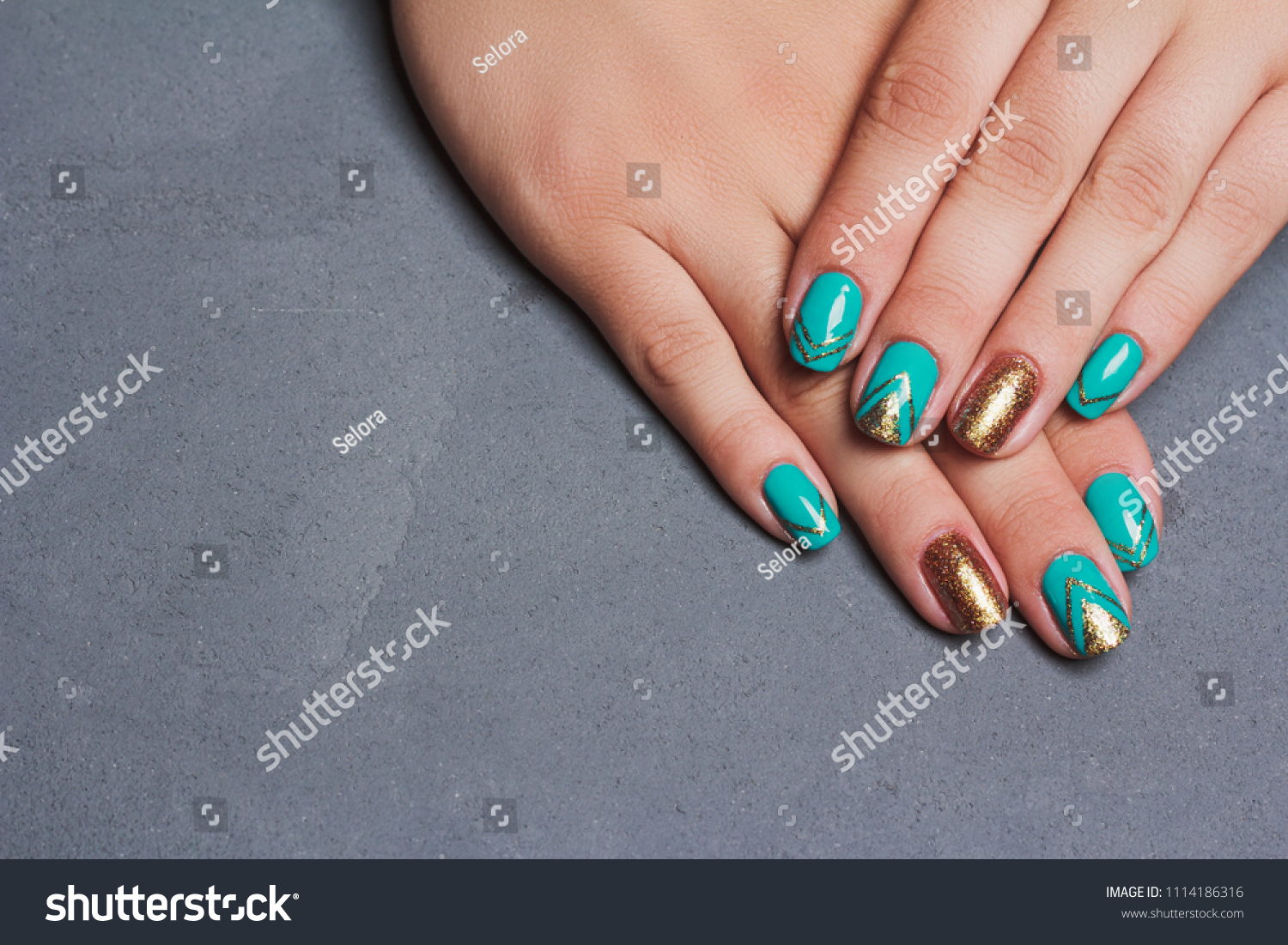 Nail Art Turquoise Gold Color Summer Stock Photo (Edit Now ...