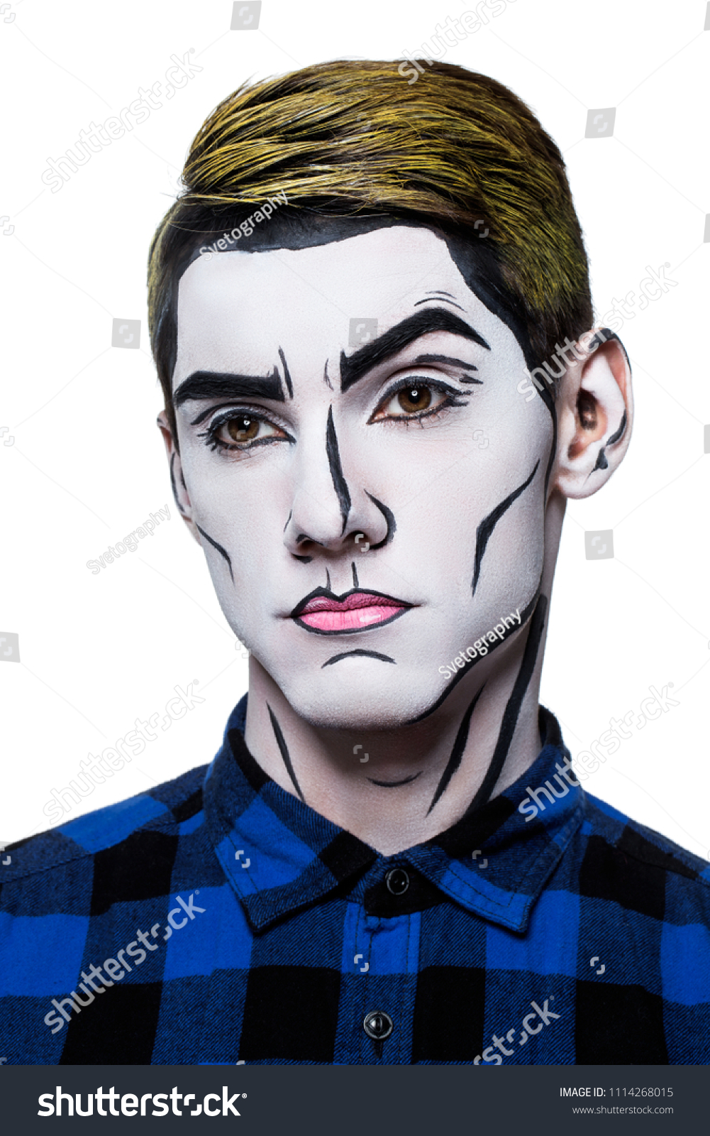 Young Man Popart Body Paint Stock Photo Edit Now 1114268015