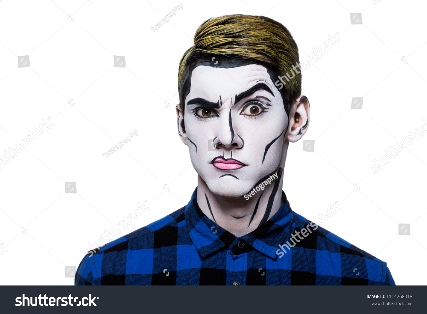 Young Man Popart Body Paint Stock Photo Edit Now 1114268018