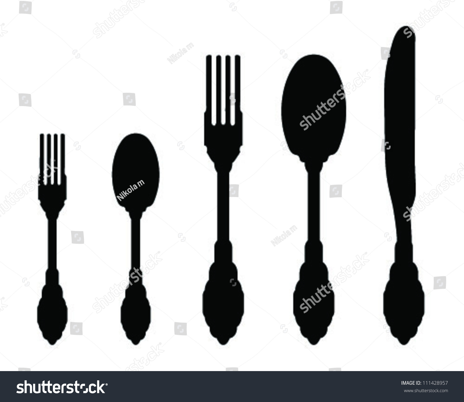 Silhouettes Spoon Fork Knife 2vector Stock Vector