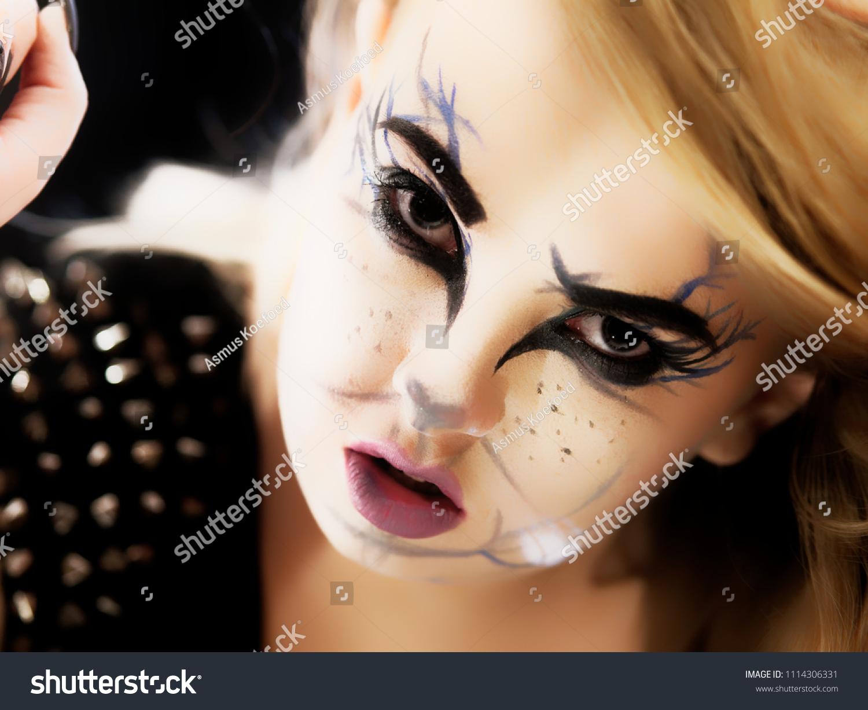 Goth Girl Cat Eye Makeup Staring Stock Photo Edit Now 1114306331