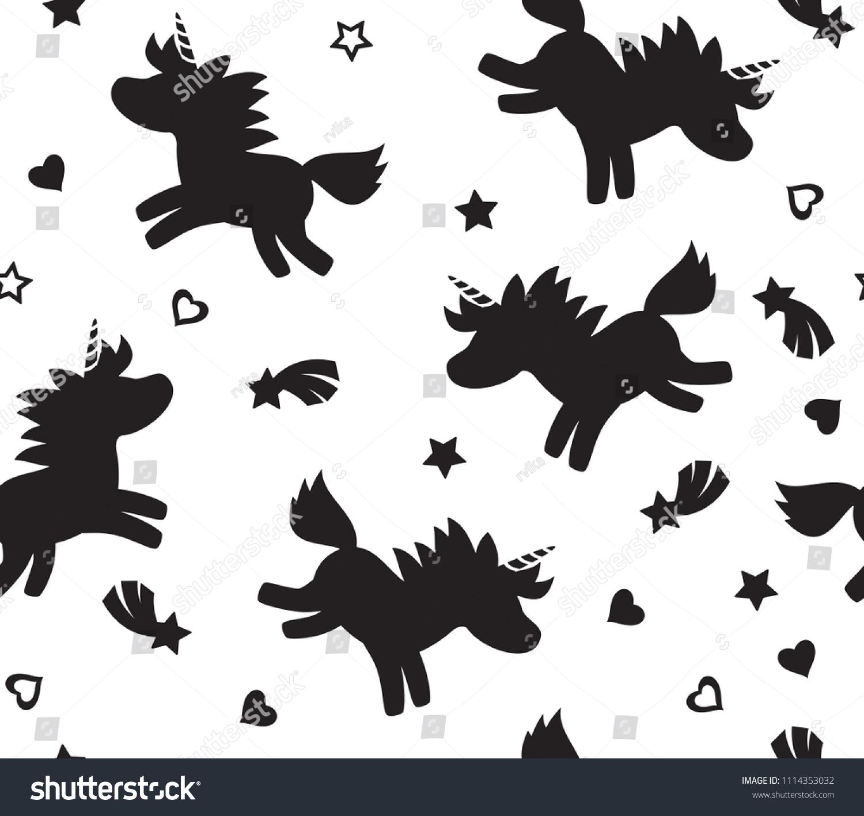 Vector Unicorn Seamless Pattern Black Silhouettes Stock Vector