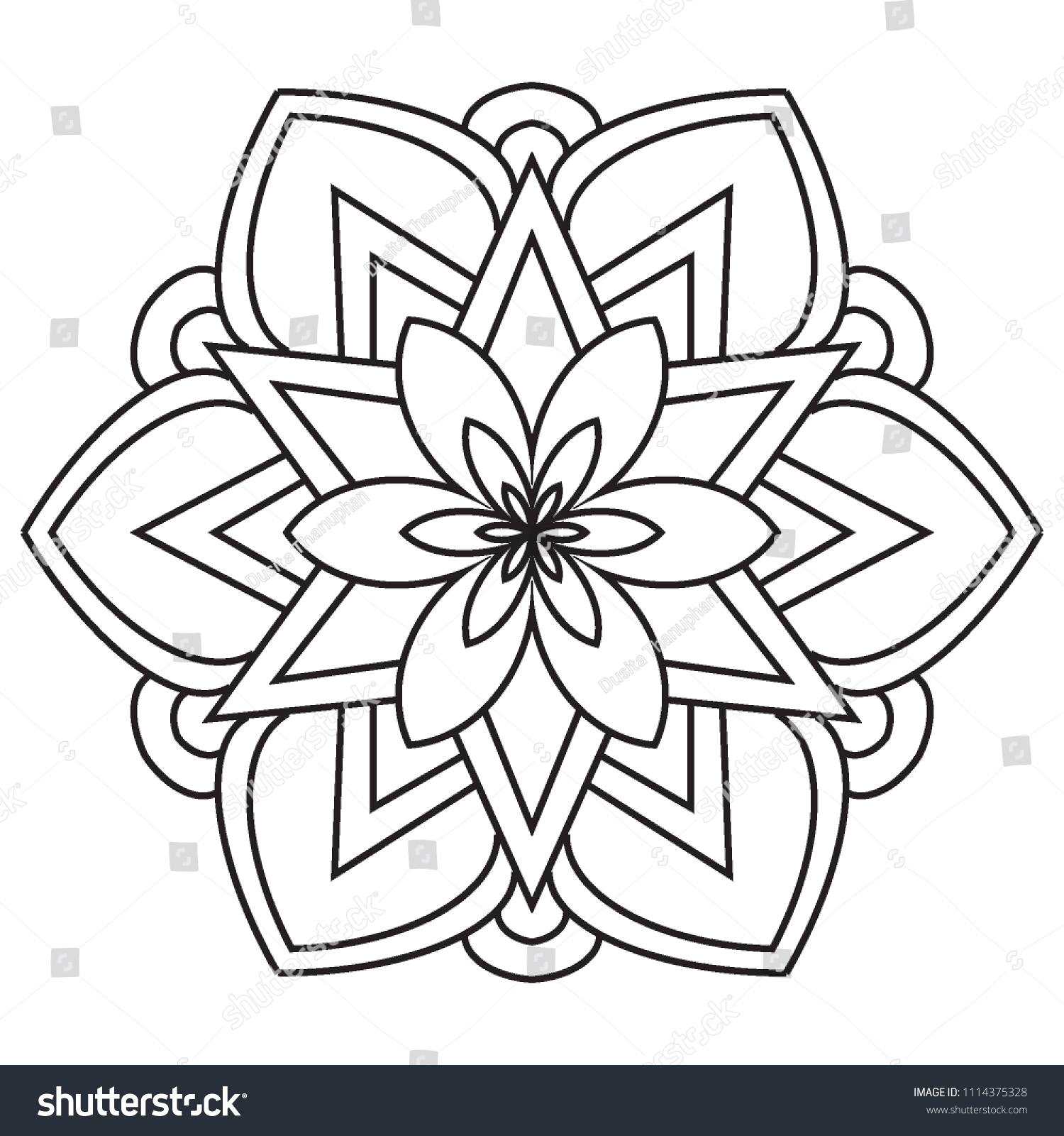 Basic Easy Simple Mandalas Coloring Pages Stock Illustration ...