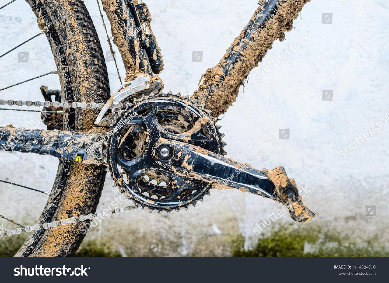 Mountain Bike Transmission Mud Dirty Chain Stock Photo Edit Now 1114384790