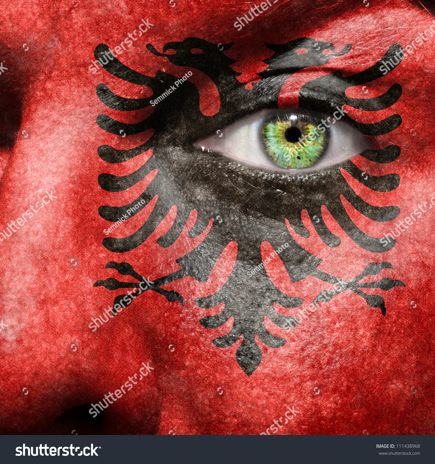 Famous Albanian Landmarks Stock Photo Flag Painted On Face With Green