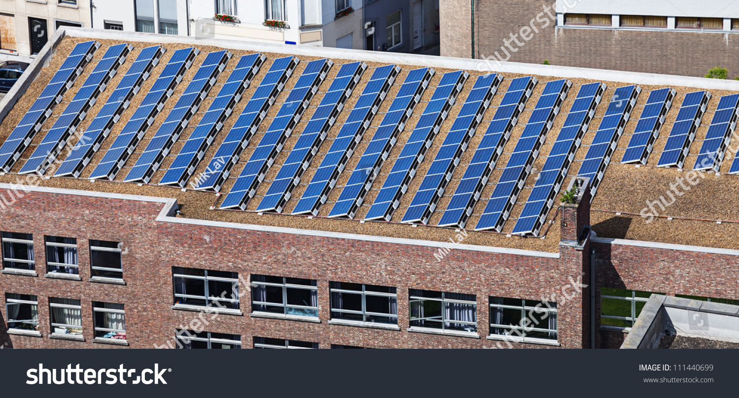 Solar Panel On Side Of Building : Solar panels on roof administrative building stock photo